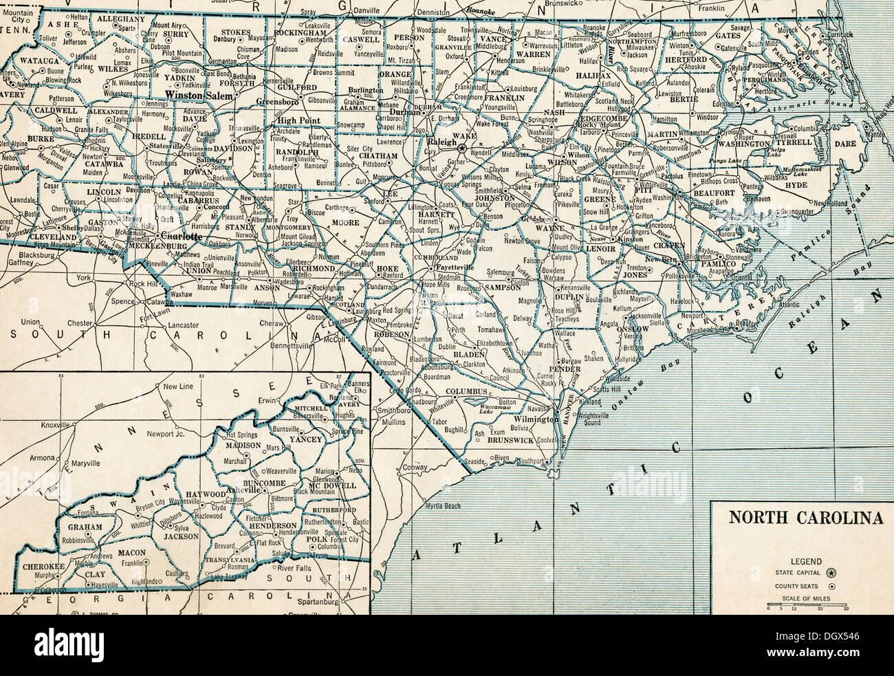 North Carolina State Map Stockfotos & North Carolina State Map ...