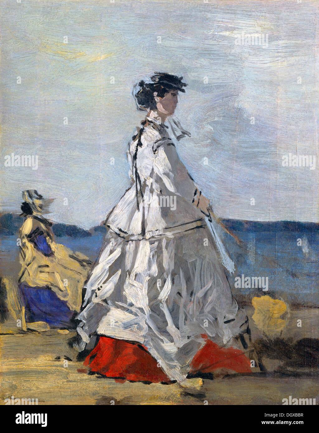 Fürstin Pauline Metternich am Strand - Eugène Boudin, 1865 Stockbild