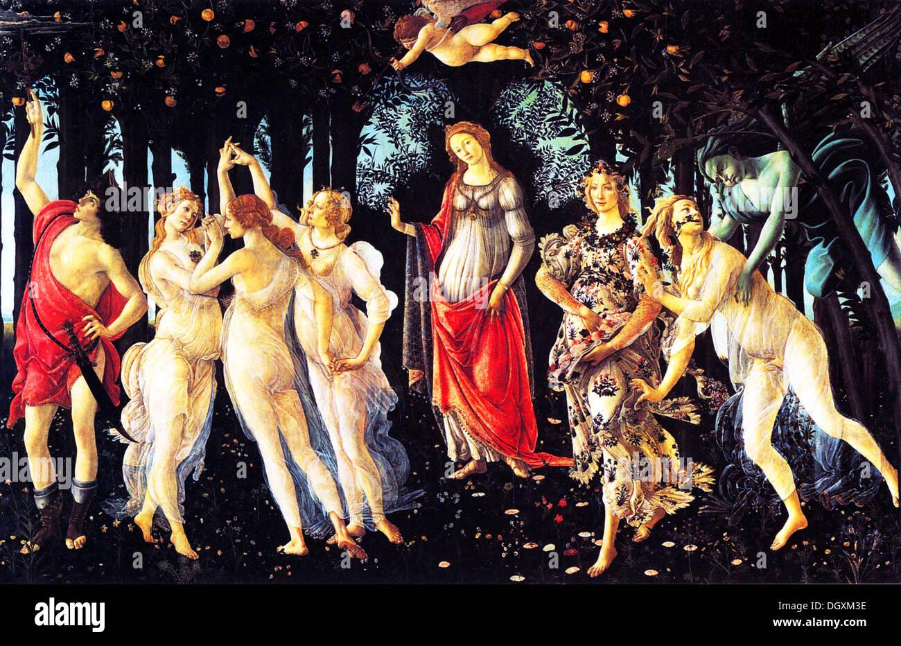 La Primavera - von Sandro Botticelli, 1482 - nur zur redaktionellen Verwendung. Stockbild