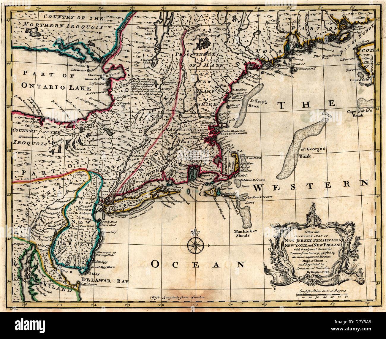 Eine neue, genaue Karte der Pensilvania, New York, New ...