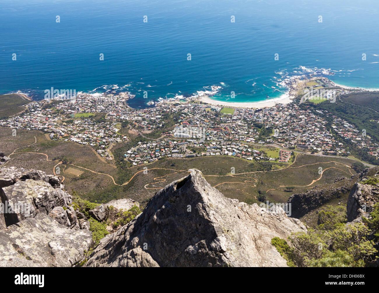 Blick auf Kapstadt vom Tafelberg in Südafrika Stockbild
