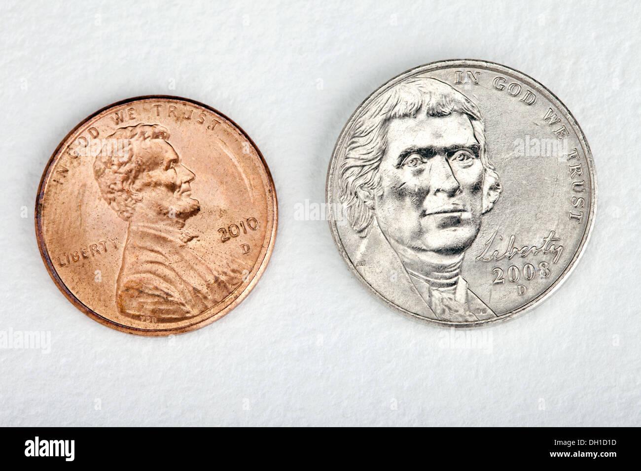 Abraham Lincoln Ein Cent Kupfer Zink Cent Münze Und Thomas Jefferson
