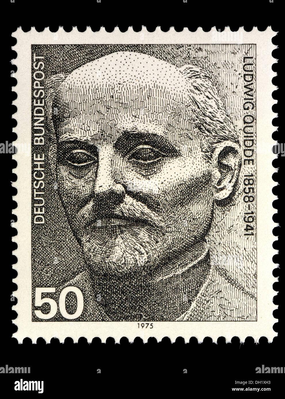 Porträt von Ludwig Quidde (1858 ? 1941: Deutsche Pazifist und Gewinner des Friedensnobelpreises, 1927) auf Deutsche Briefmarke. Stockbild
