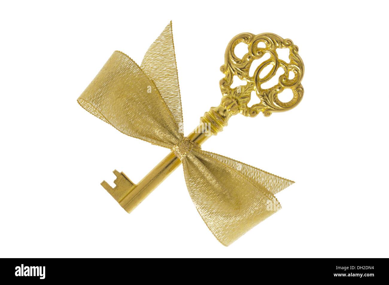 antike goldene Schlüssel Stockbild
