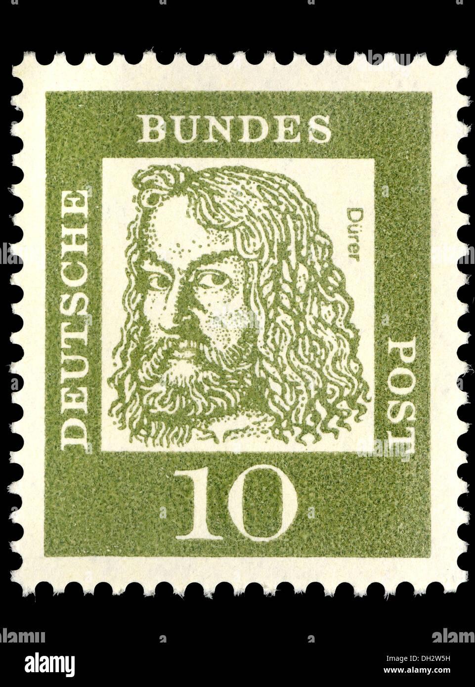 Porträt von Albrecht Dürer (1471-1528: deutscher Künstler und Grafiker) auf Deutsche Briefmarke Stockbild