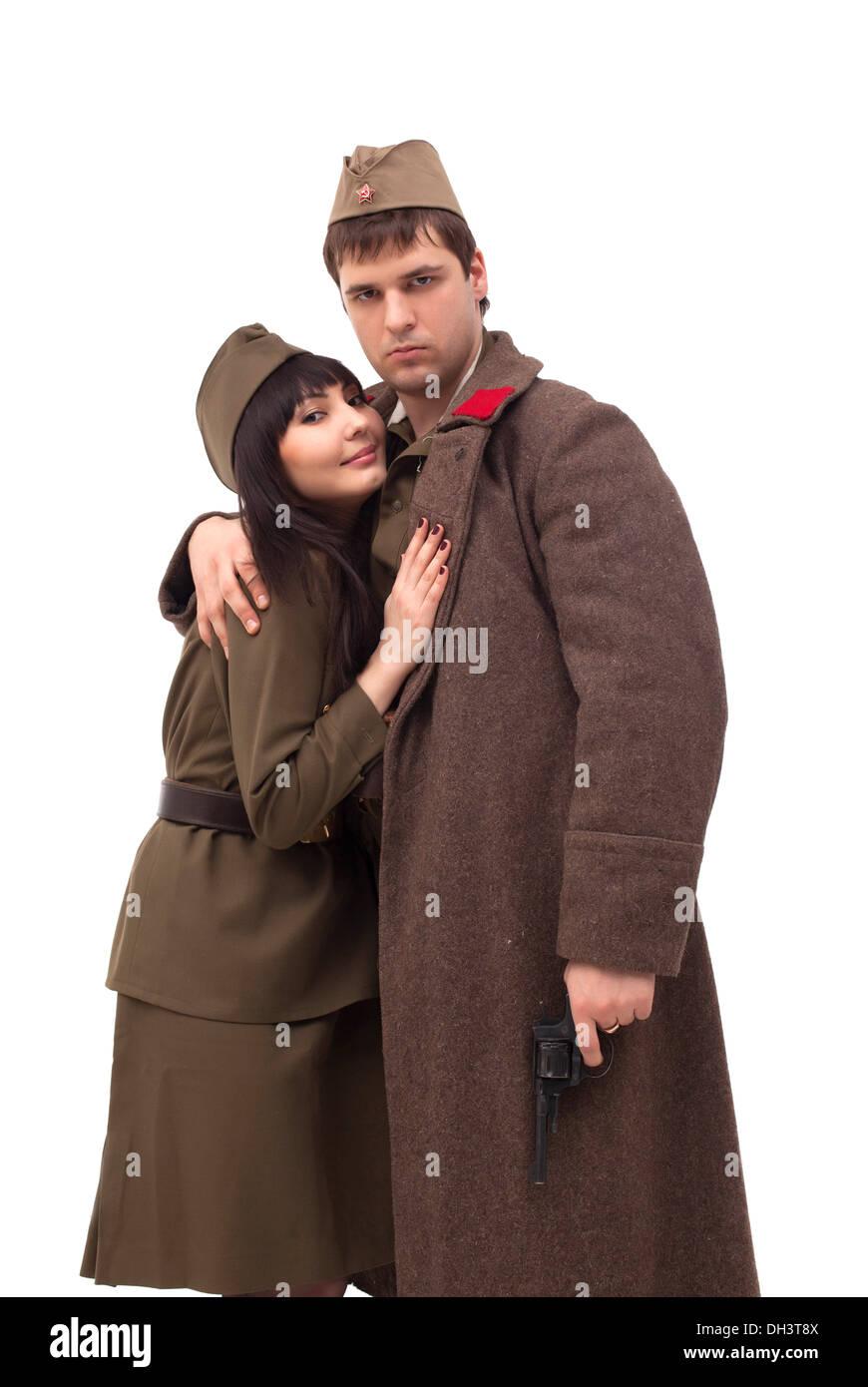 Junges Paar in der militärischen Kleidung Stockbild