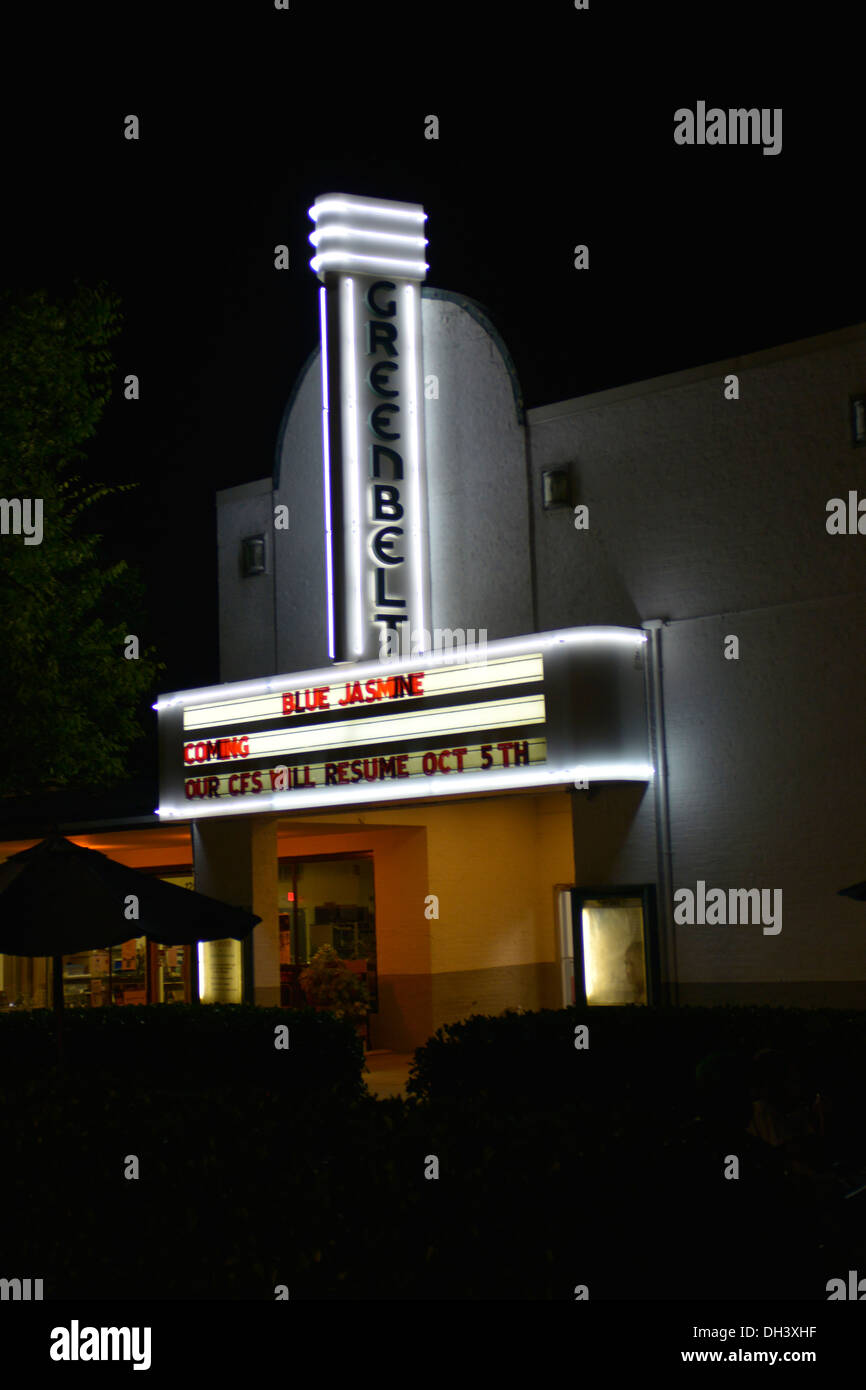 Die historischen Greenbelt-Kino in Greenbelt, Maryland Stockbild