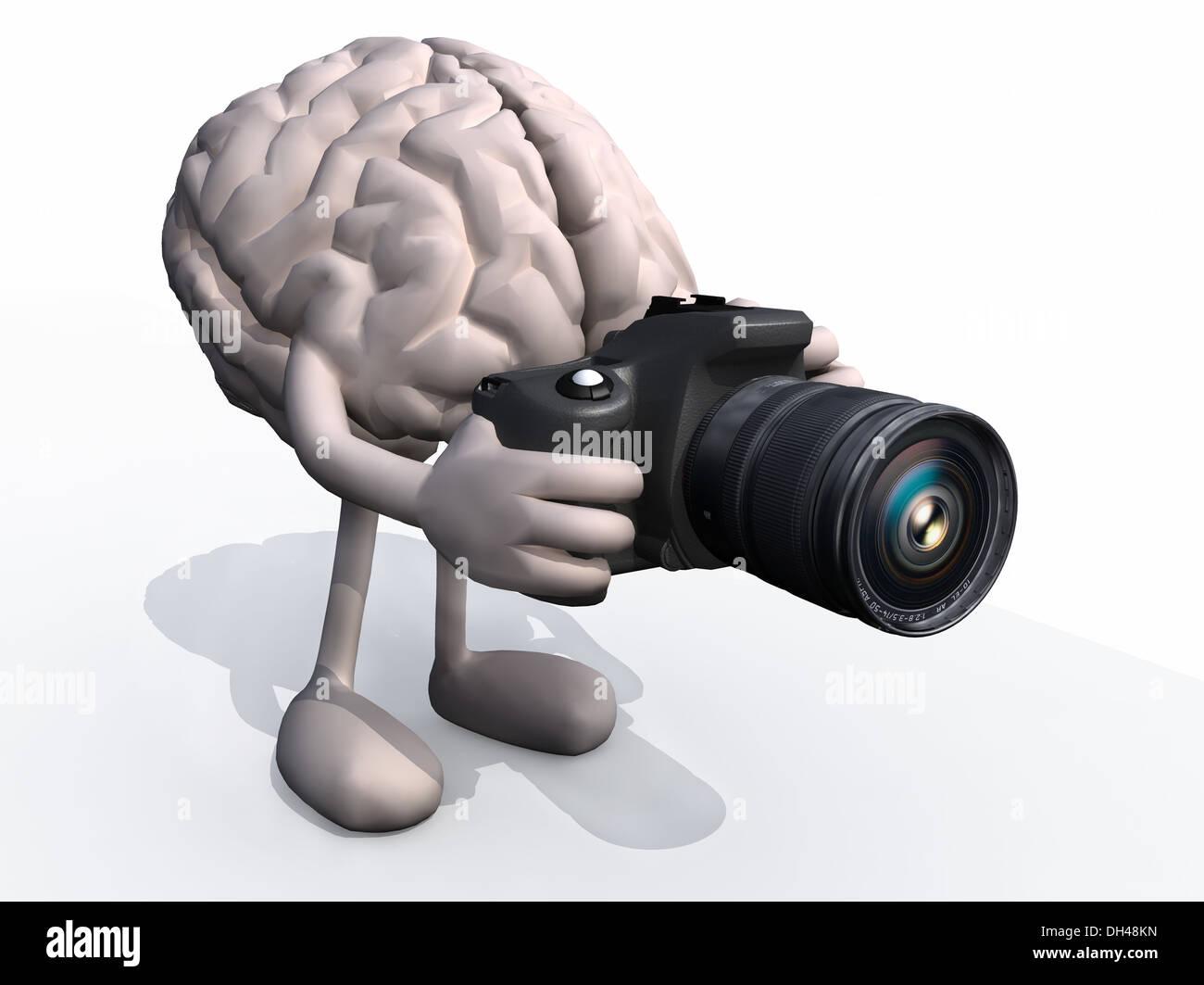 menschlichen Gehirns mit Armen, Beinen und digitale Foto-Kamera ...