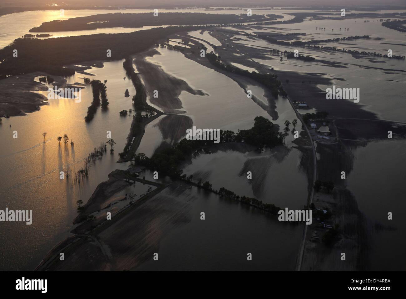 Ackerland in der Nähe von Finley, Tennessee zu überfluten Stockbild