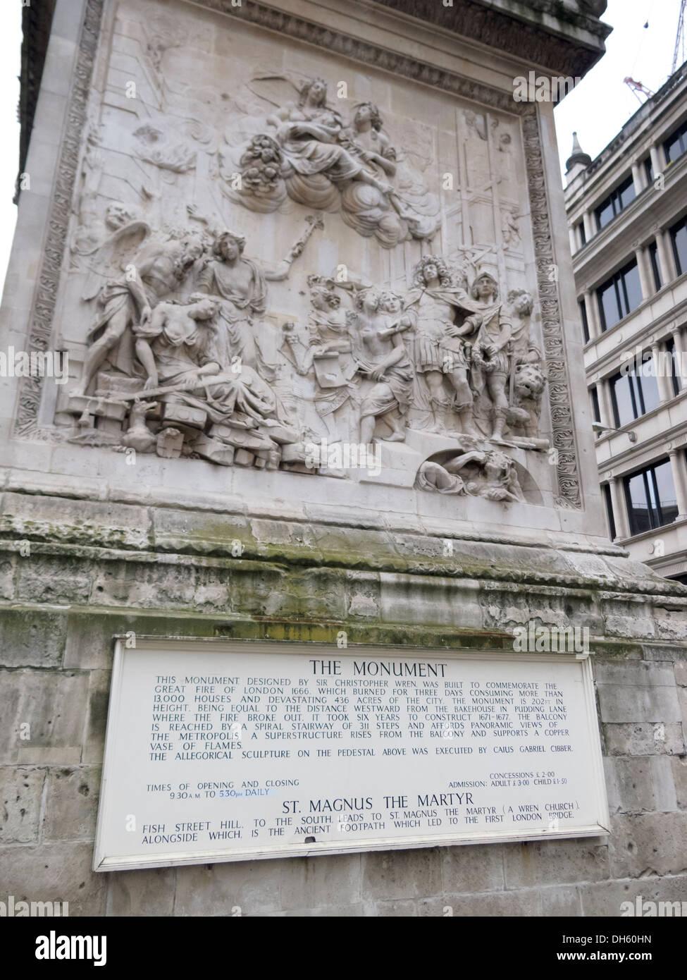 Das Denkmal für den großen Brand von London Denkmal Street und Fish Street Hill London England Stockbild