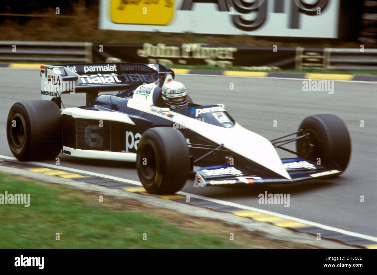 Riccardo Patrese fahren die Meisterschaft gewinnen BT52 Brabham BMW, British GP, England 16. Juli 1983. Stockbild