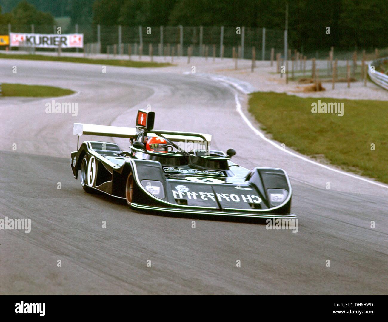 Herbert Muller Drving März 75 s BMW. 5. auf dem Salzburgring belegte er den 18. September 1977. Stockbild