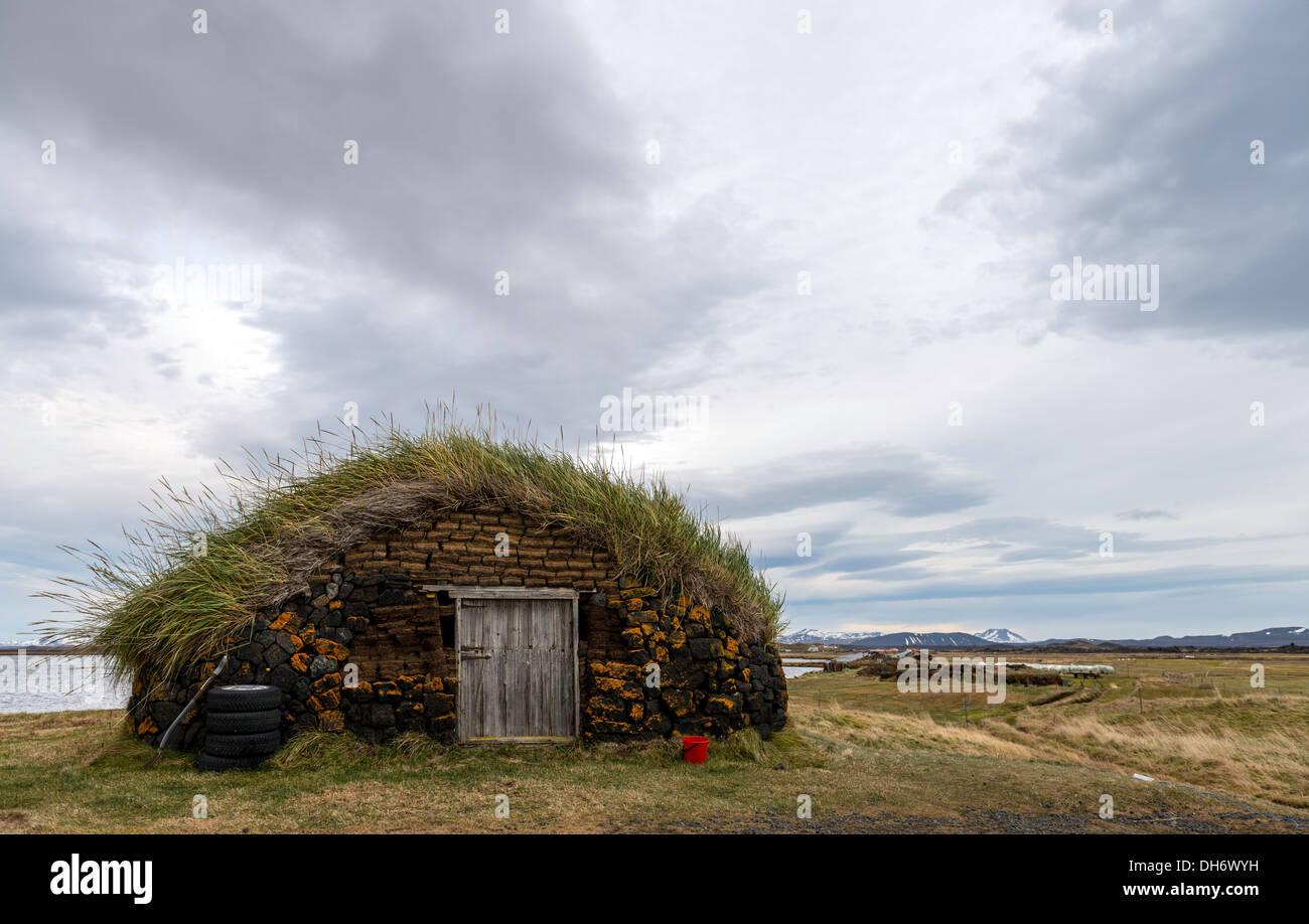 Rasen-Haus Nordisland Stockbild