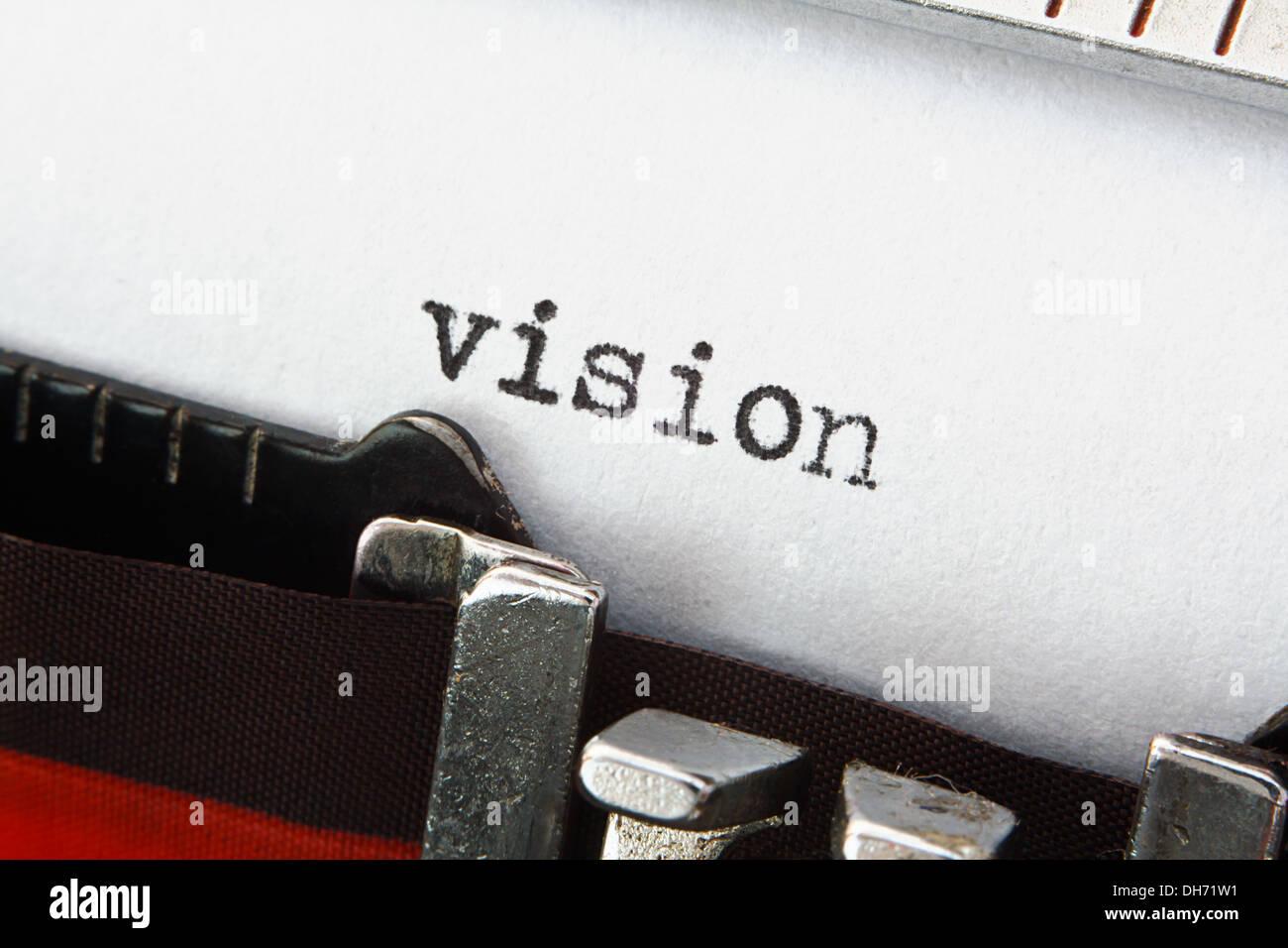 Das Wort Vision auf einem Vintage Schreibmaschine, tolles Konzept für neue Ideen oder Verkaufspräsentationen Stockbild