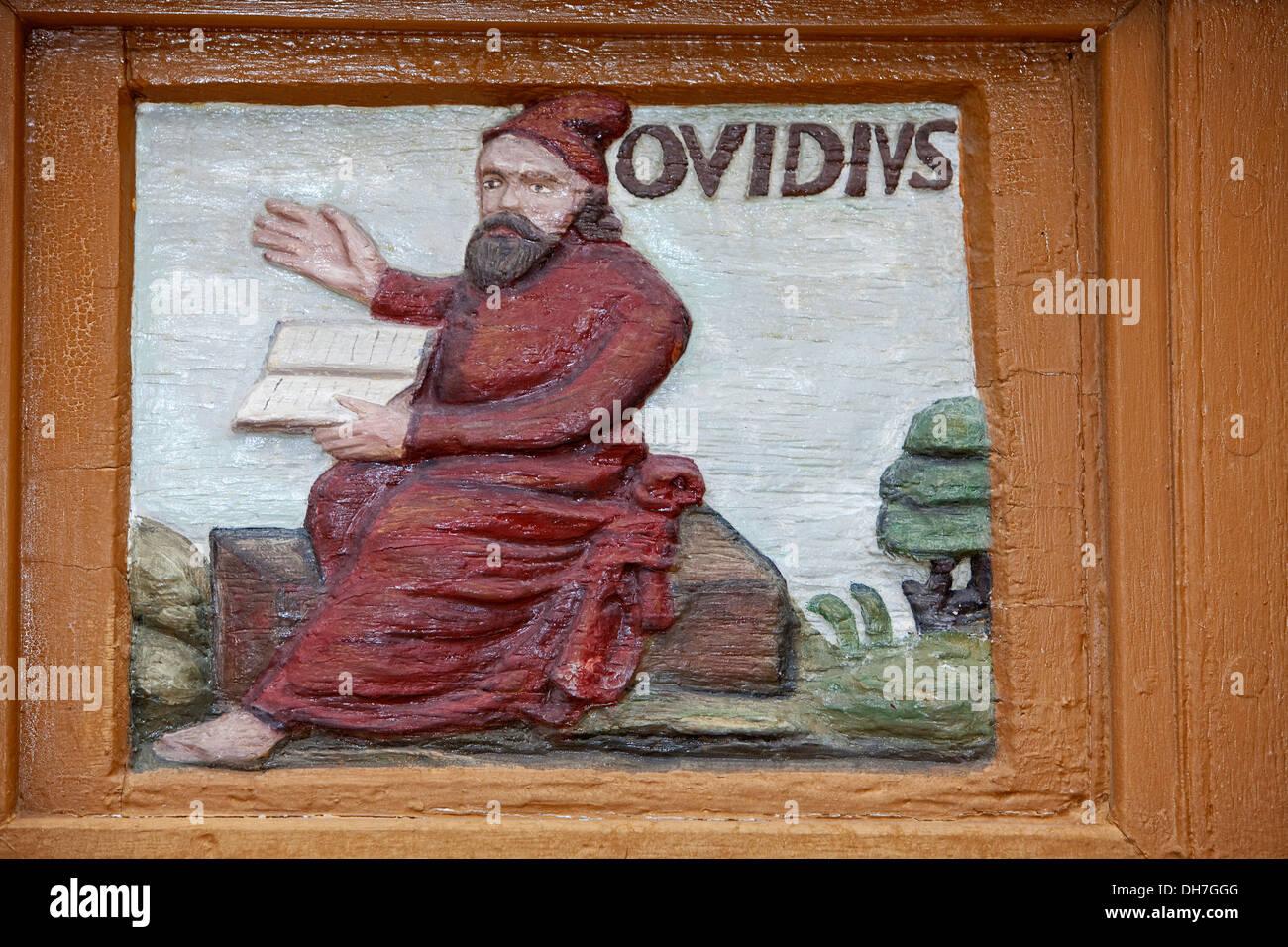 Publius Ovidius Naso oder Ovid 43 v. Chr.-17, ein römischer Dichter, alte Lateinschule 17.Jahrhundert, Alfeld, Leine, Niedersachsen, Deutschland Stockfoto