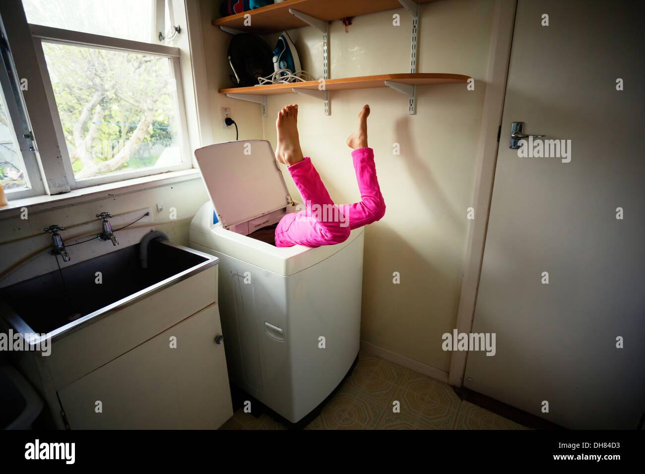 Wäsche-Raum-Unfall Stockbild