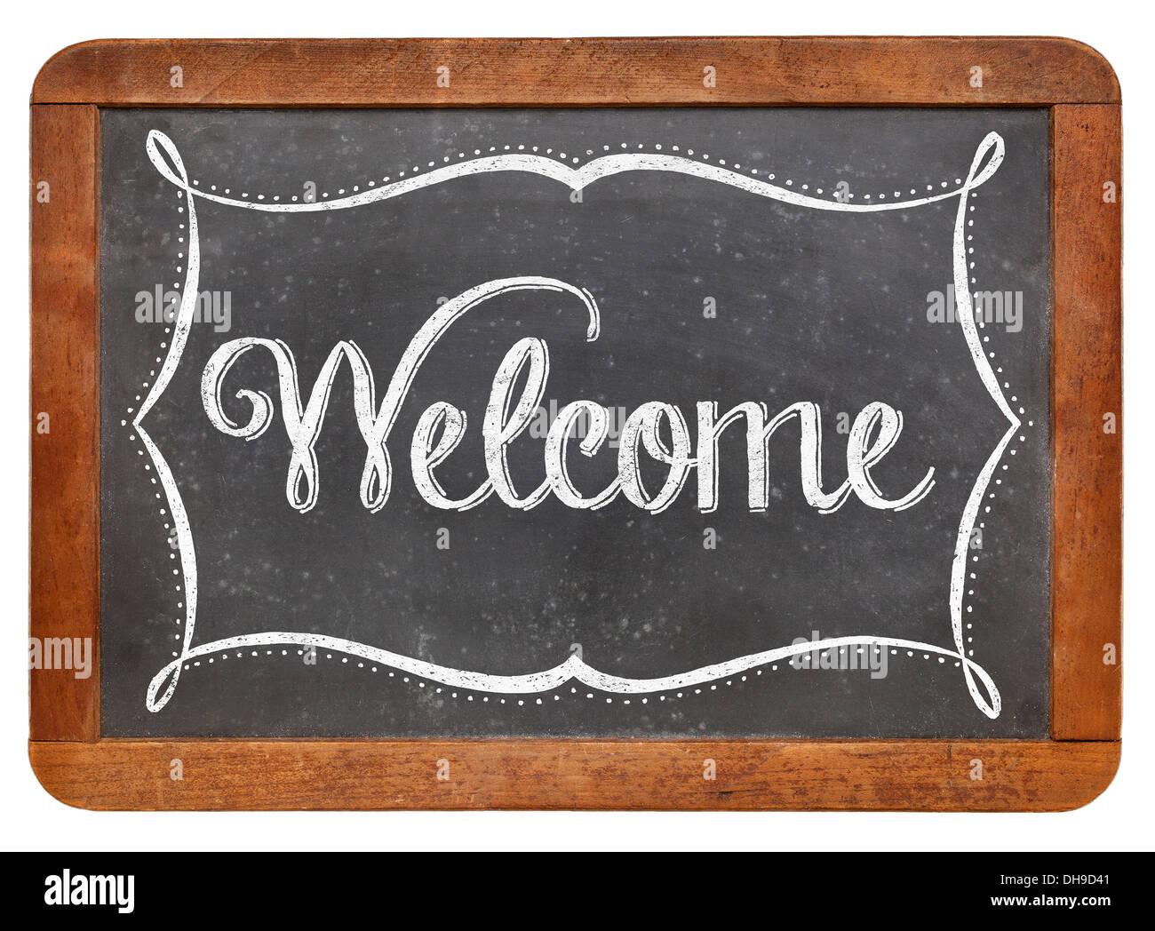 Willkommen-weiße Kreide Text auf einer Vintage Schiefer Tafel ...
