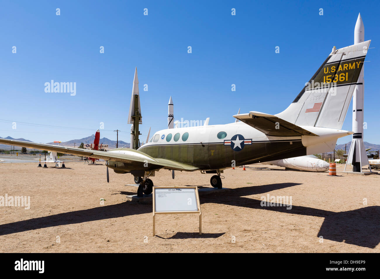 VC-6A Flugzeuge Dr. Wernher von Braun, Rakete Park in White Sands Missile Range in der Nähe von Alamogordo, New Stockfoto