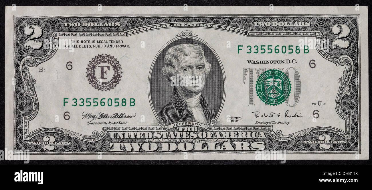 Uns 2 Dollarschein Stockfotografie Alamy