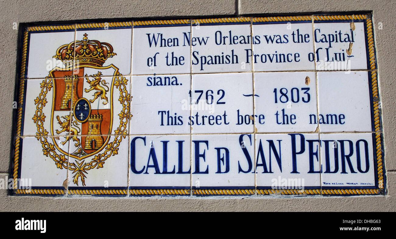 USA. Louisiana. New Orleans. Spanish Street Name Fliese-Wandbilder ...