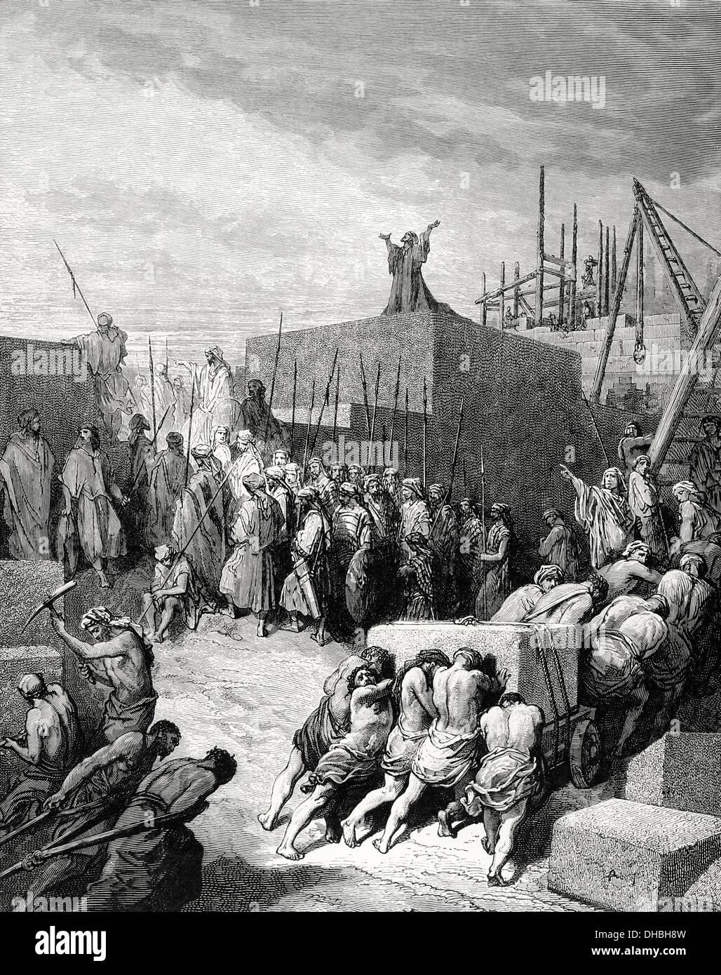 Alten Testament. Rückkehr aus dem babylonischen Exil. Wiederaufbau des Tempels. Buch Esra, Buch I, Kapitel Stockbild