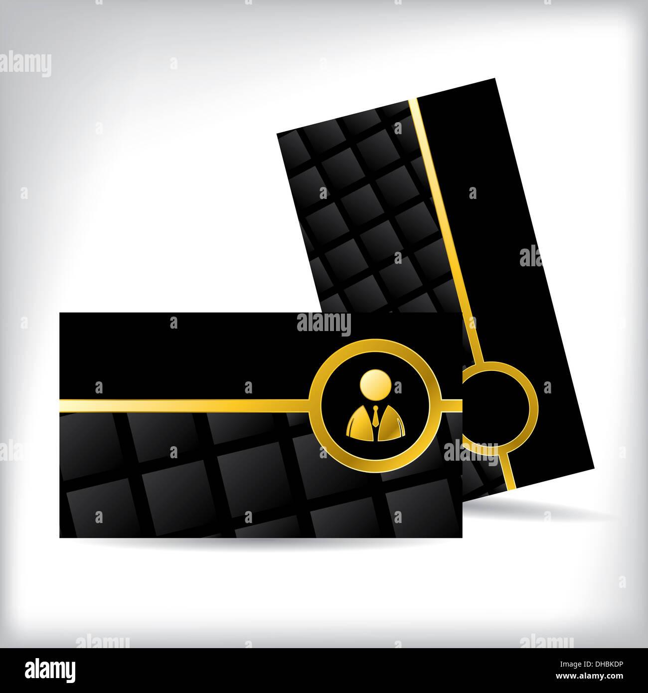 Schwarzen Visitenkarte Design Mit Gold Business Mann Symbol