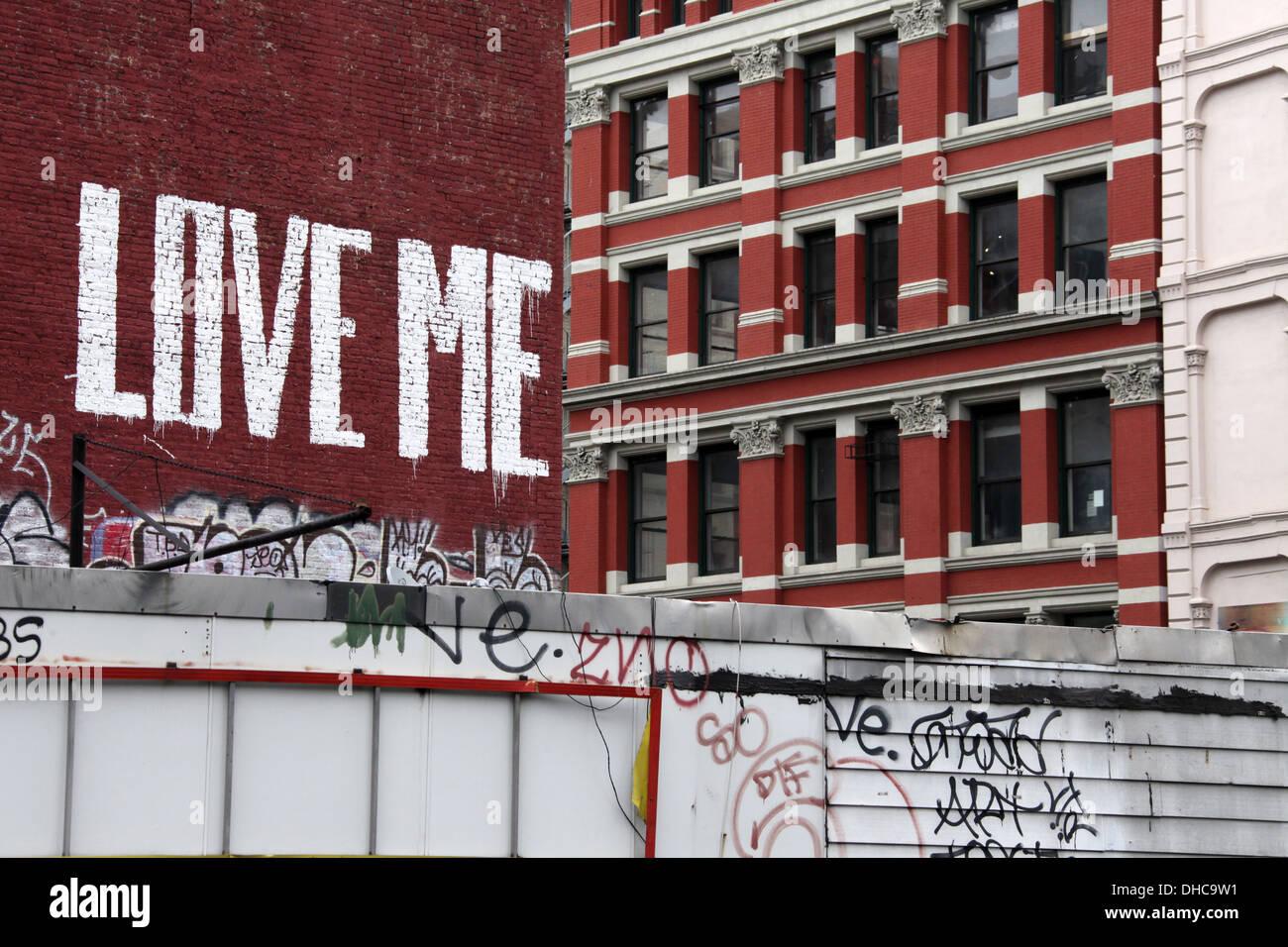 Graffiti im Stadtteil Tribeca von lower Manhattan Stockbild
