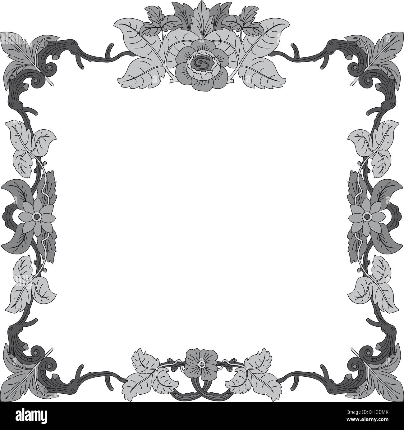 Blume Rahmen 2 schwarz weißes Quadrat Stockfoto, Bild: 62376403 - Alamy