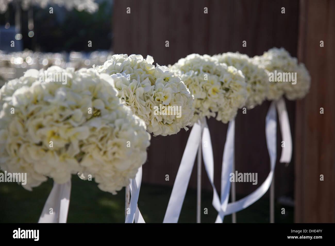 Hochzeit Blumen Dekoration Zeile Spalte Weissen Rosen Locken