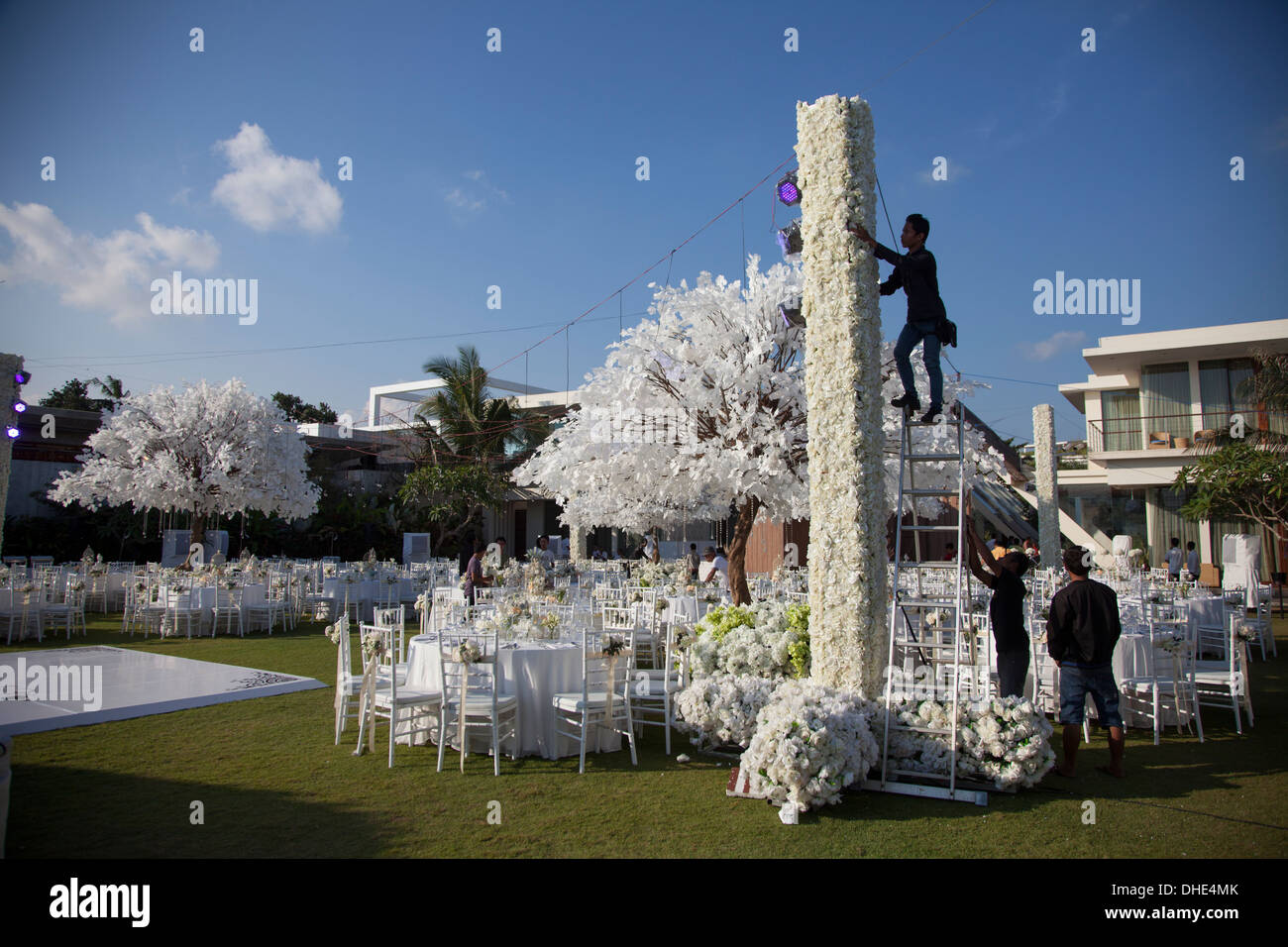 Hochzeit Dekoration Empfang Bali Indonesien Weiss Arbeiten Arbeiten