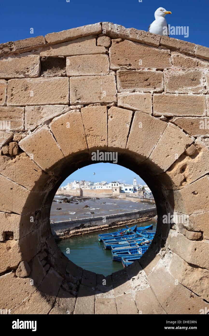 Blick von der Stadtmauer und Medina von der alten Festung, Essaouira, Atlantikküste, Marokko, Nordafrika, Afrika Stockbild