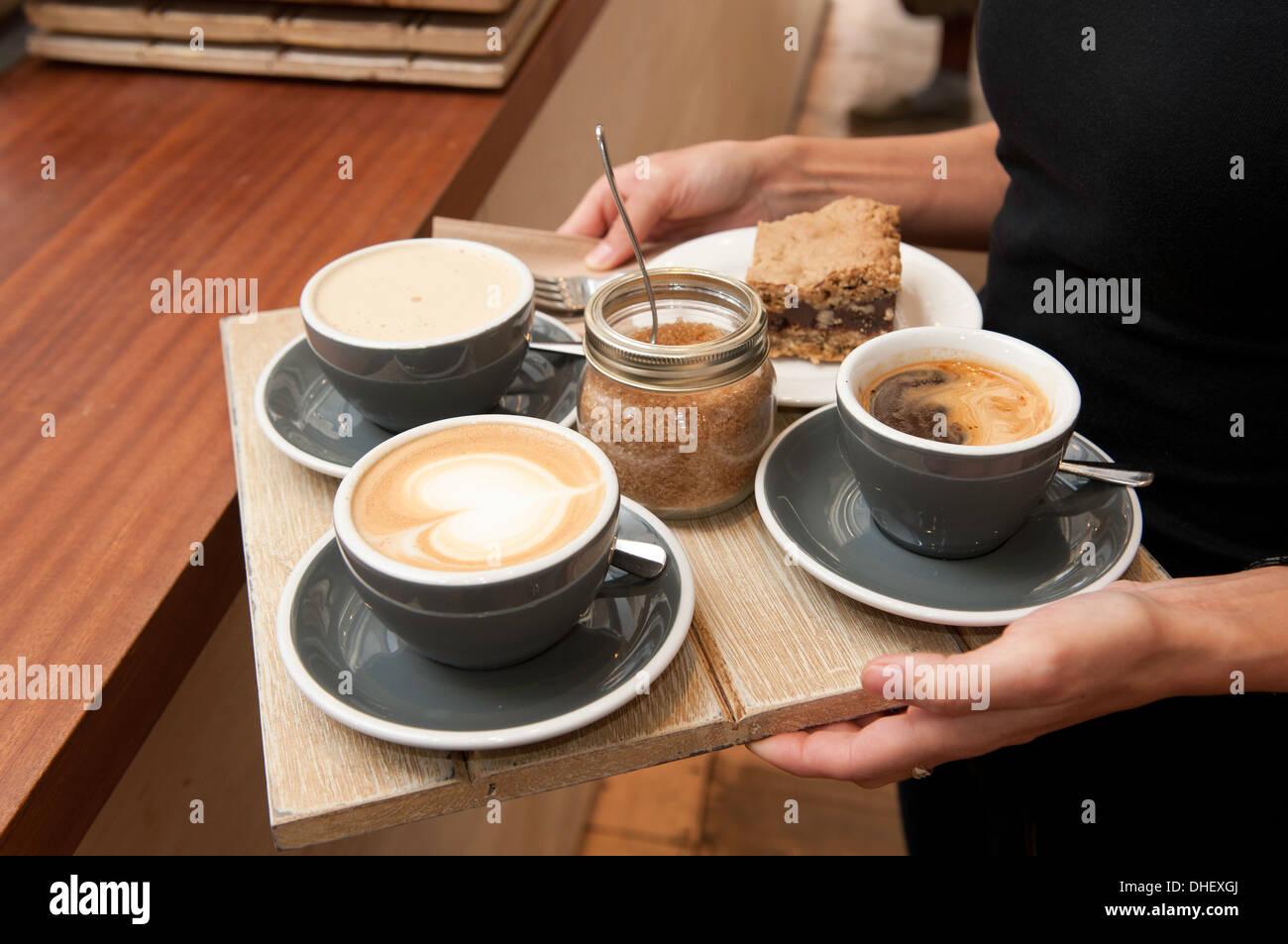 Portion Kaffee Barista Stockbild