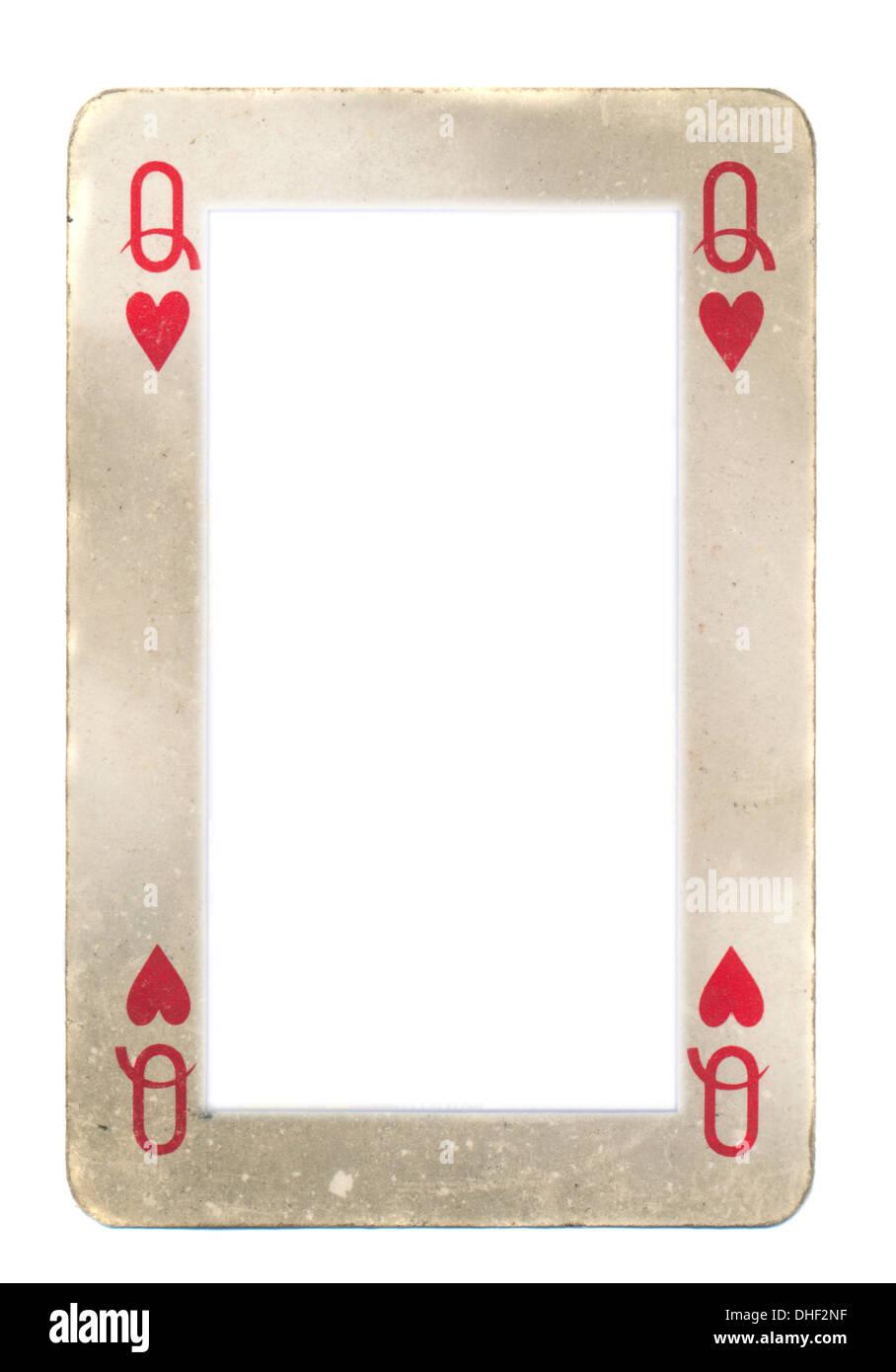 Papier-Rahmen aus alten Königin der Herzen Spielkarte. Isoliert auf ...