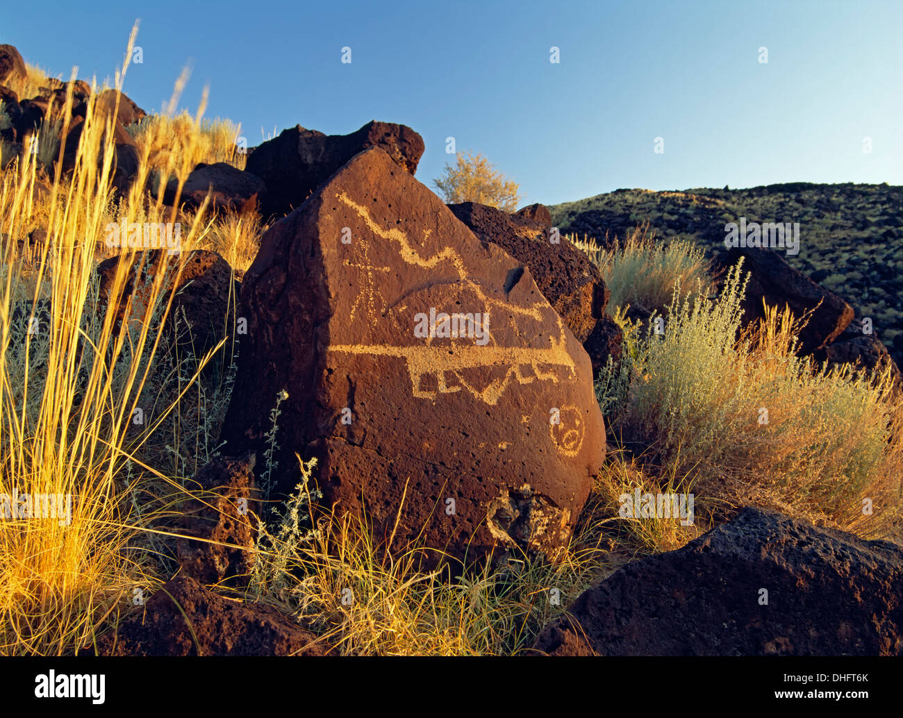 Petroglyphen, rinconada Canyon, Petroglyph National Monument, Albuquerque, New Mexico usa Stockbild