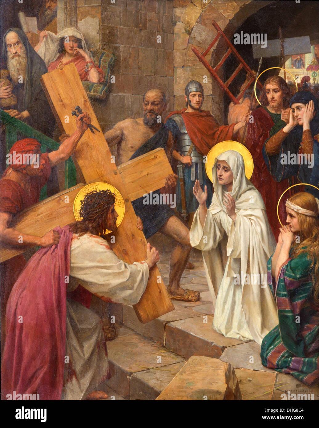 Antwerp Jesus Mary In Cross Stockfotos & Antwerp Jesus Mary In Cross ...