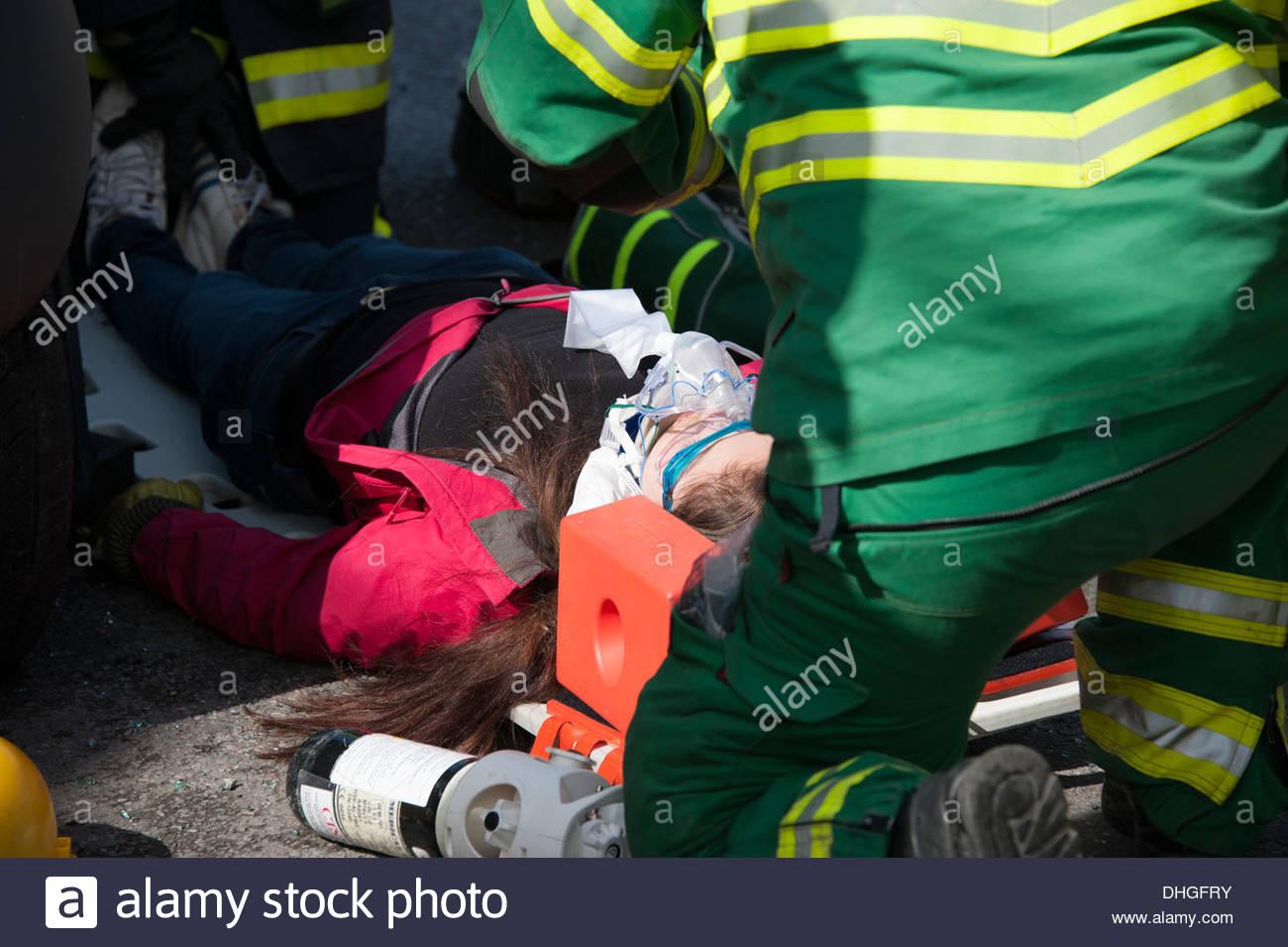 Auto Crash Unfall auf Wirbelsäule Board C Wirbelsäule Verletzungen ...