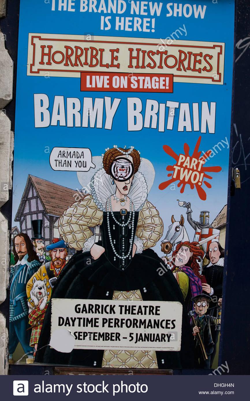 Schreckliche Geschichten Barmy Großbritannien Plakatwand in London England Stockbild