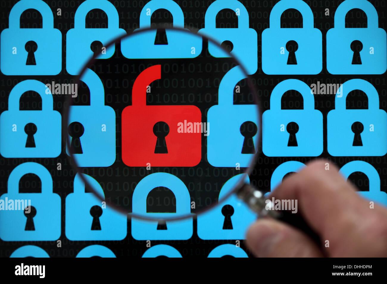 Internet-Sicherheitsschloss Stockbild
