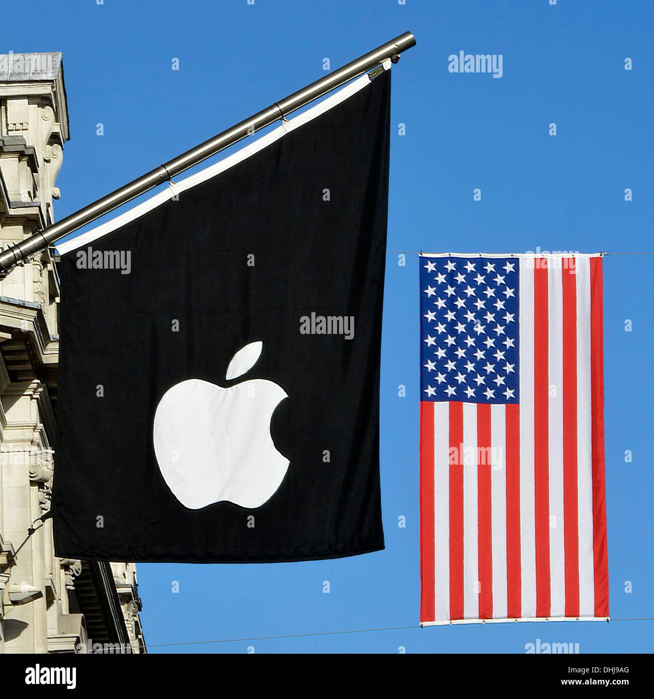 Apple Store Fahnenmast mit Sternen und Streifen Fahne aufgehängt an ...