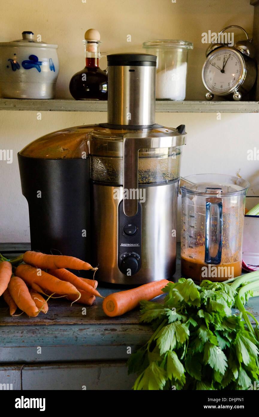 Frischen Karotten Saft Gemuse Entsafter Homemade Stockfoto Bild