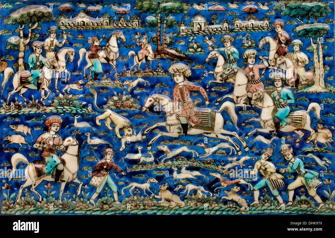 Wandplatte aus einer Jagdszene 18. / 19. Jahrhundert Teheran - Teheran Iran Kadscharen Persien persische Stockbild