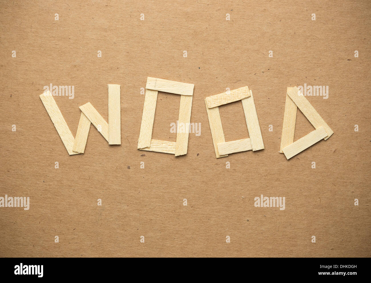 Word Wood On Paper Background Stockfotos Word Wood On Paper