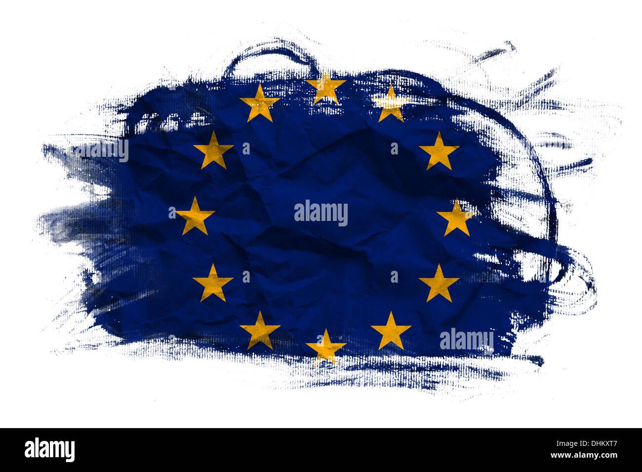 EU-Flagge auf zerknüllte Papier Textur. Alten Recyclingpapier Hintergrund. Stockbild