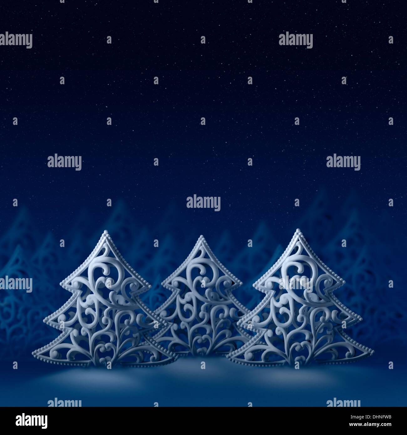 Hintergründe und Texturen: drei weiße Weihnachten Bäume, nächtlichen ...