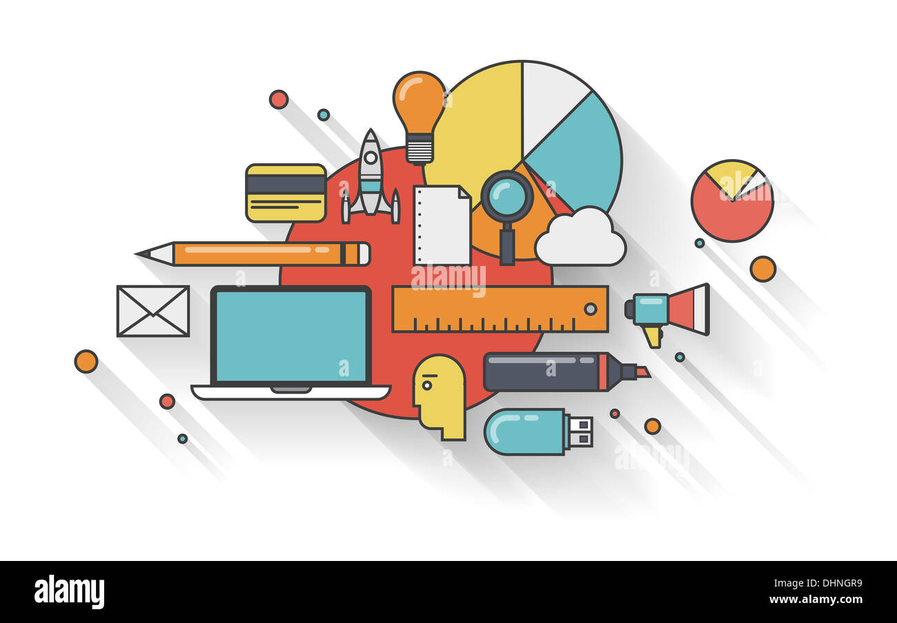 Flache Kontur Illustration Konzept der modernen Business-Planung für Entwicklung und Management Alltag Stockbild