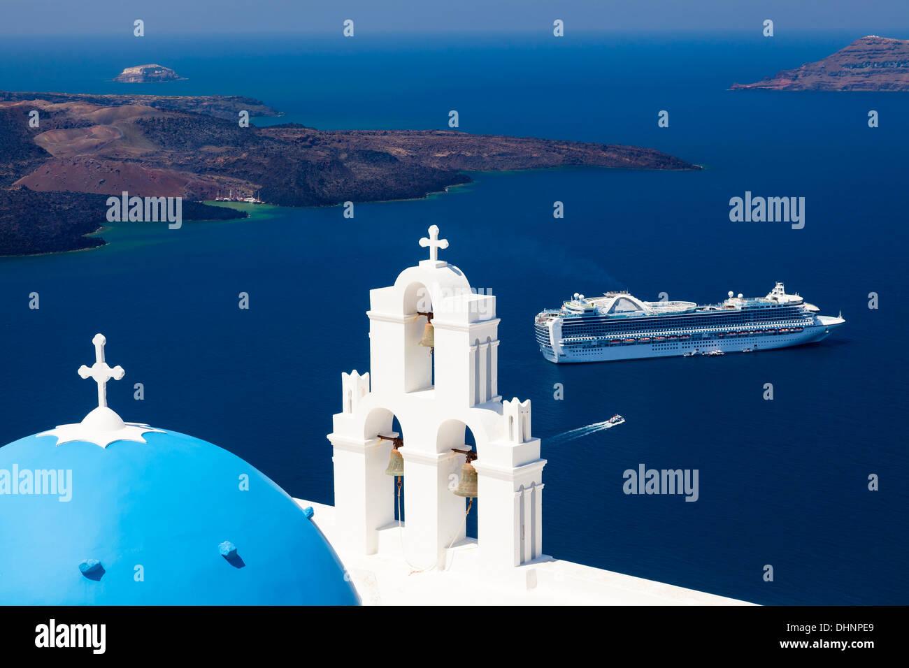 Blue Dome Kirche in Firostefani in der Nähe von Fira auf Thira Insel Santorini Griechenland Stockbild