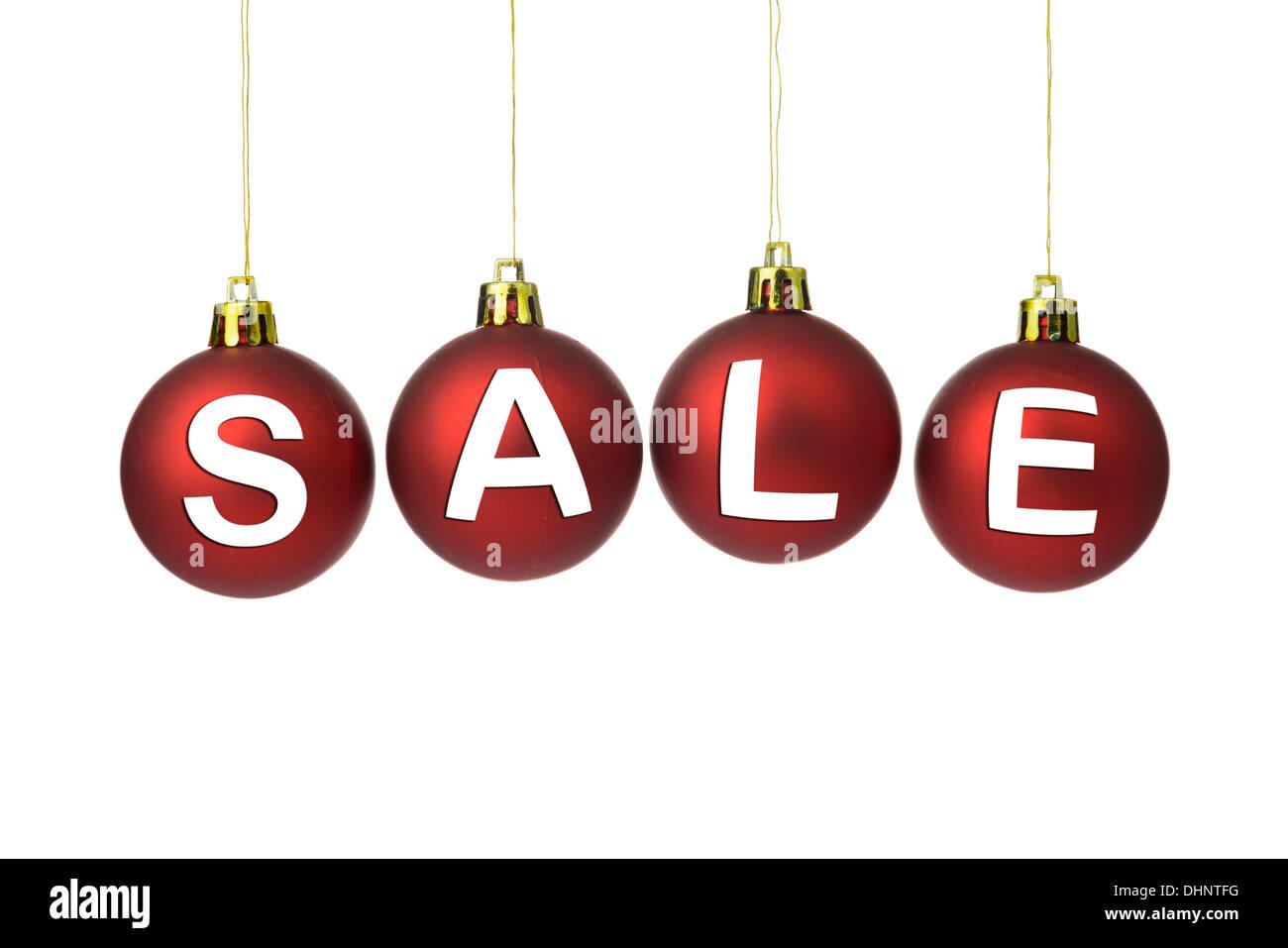 Weihnachtsverkauf anmelden roten Kugeln auf weißem Hintergrund ...