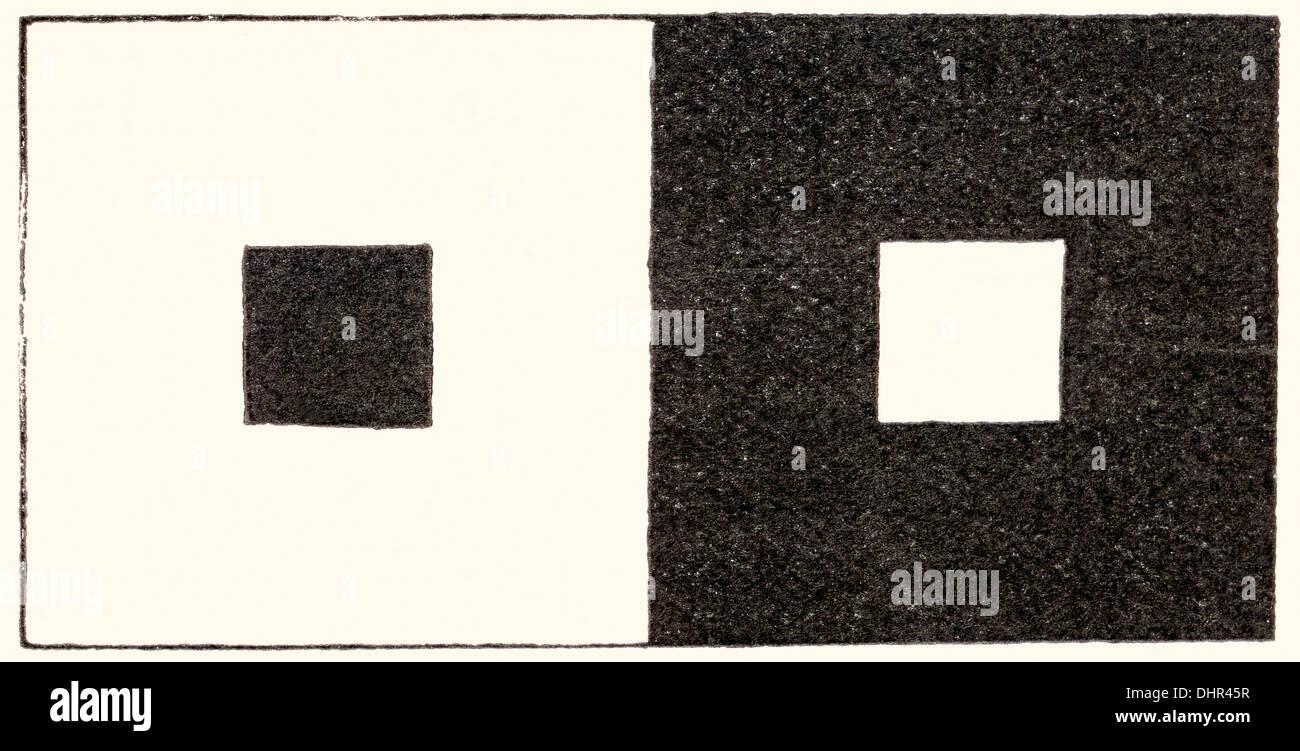 Illusion der visuellen Wahrnehmung, die in dem ein hellen Bereich des Gesichtsfeldes größer als ein sonst gleichen dunklen Bereich sieht. Stockbild