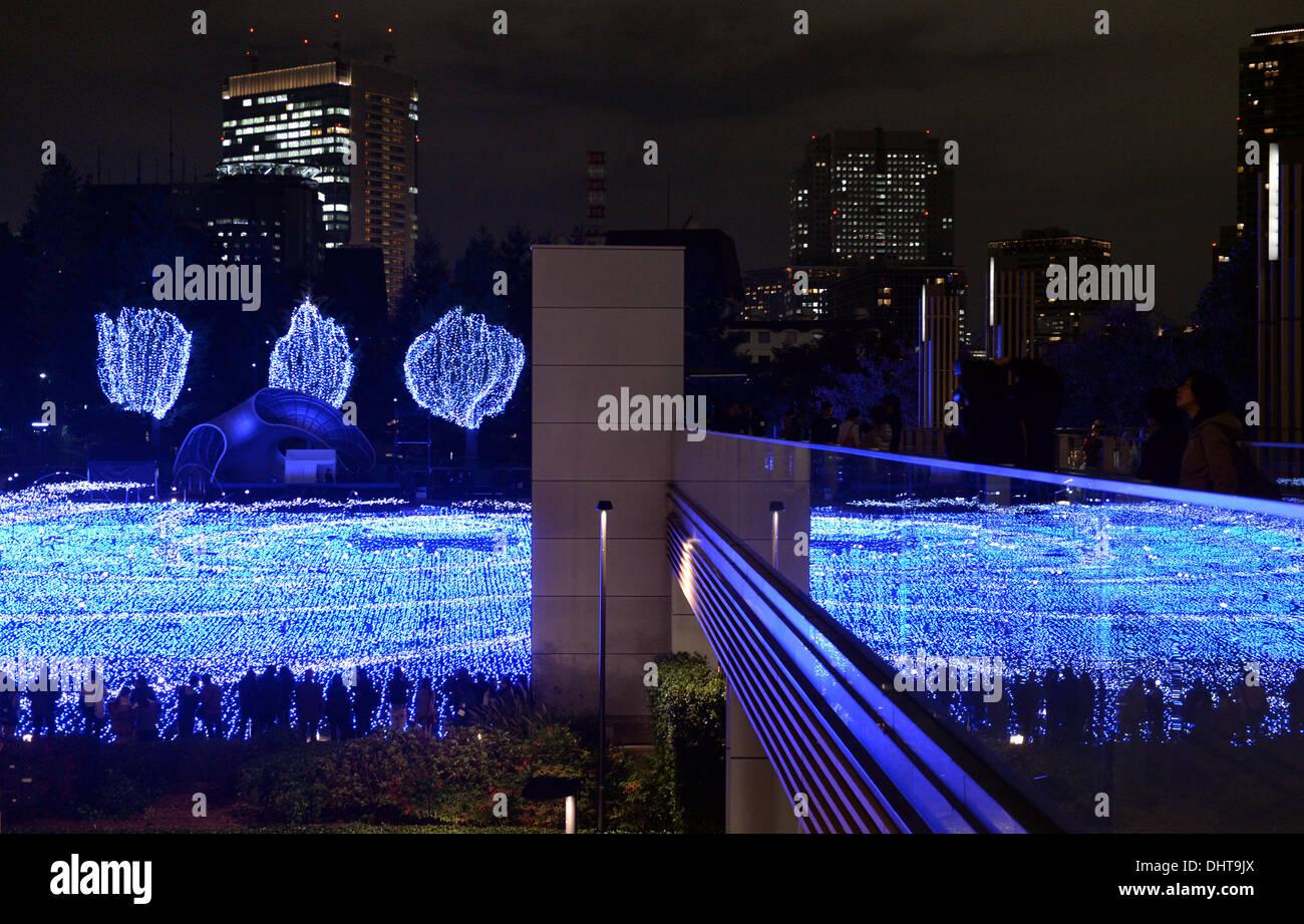 Starlight Weihnachtsbeleuchtung.Tokio Japan 14 November 2013 Besucher Sind Begeistert Von Der