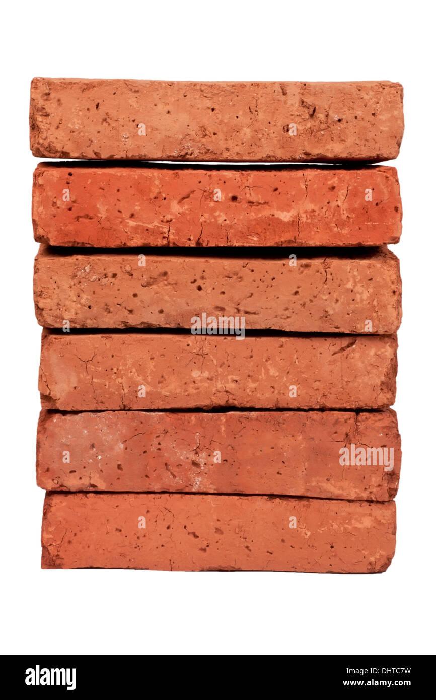 Rotem Lehmziegel, isoliert auf weiss Stockbild
